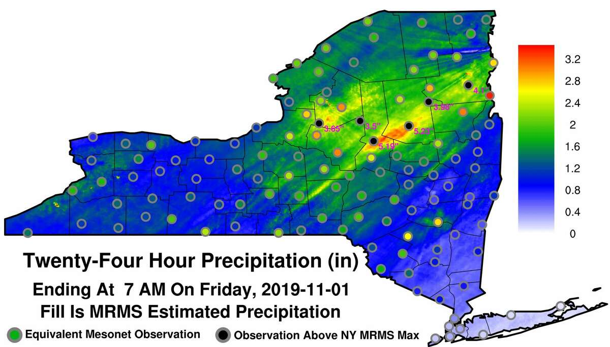 Graphic produced by New York State Mesonet show how much rain fell during the overnight storm that soaked parts of the Capital Region as well as parts of the Eastern Seaboard between Virginia and Maine.