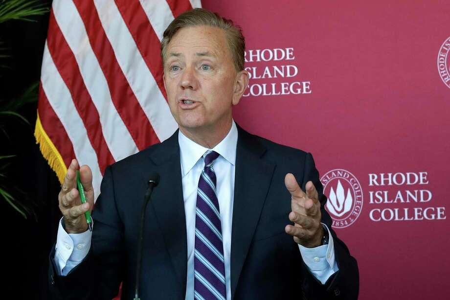 Connecticut Gov. Ned Lamont speaks to the media after a private meeting with Rhode Island Gov. Gina Raimondo and Massachusetts Gov. Charlie Baker to discuss issues of regional importance, Thursday, Oct. 24, 2019, on the campus of Rhode Island College in Providence, R.I. (AP Photo/Steven Senne) Photo: Steven Senne / Associated Press / Copyright 2019 The Associated Press. All rights reserved