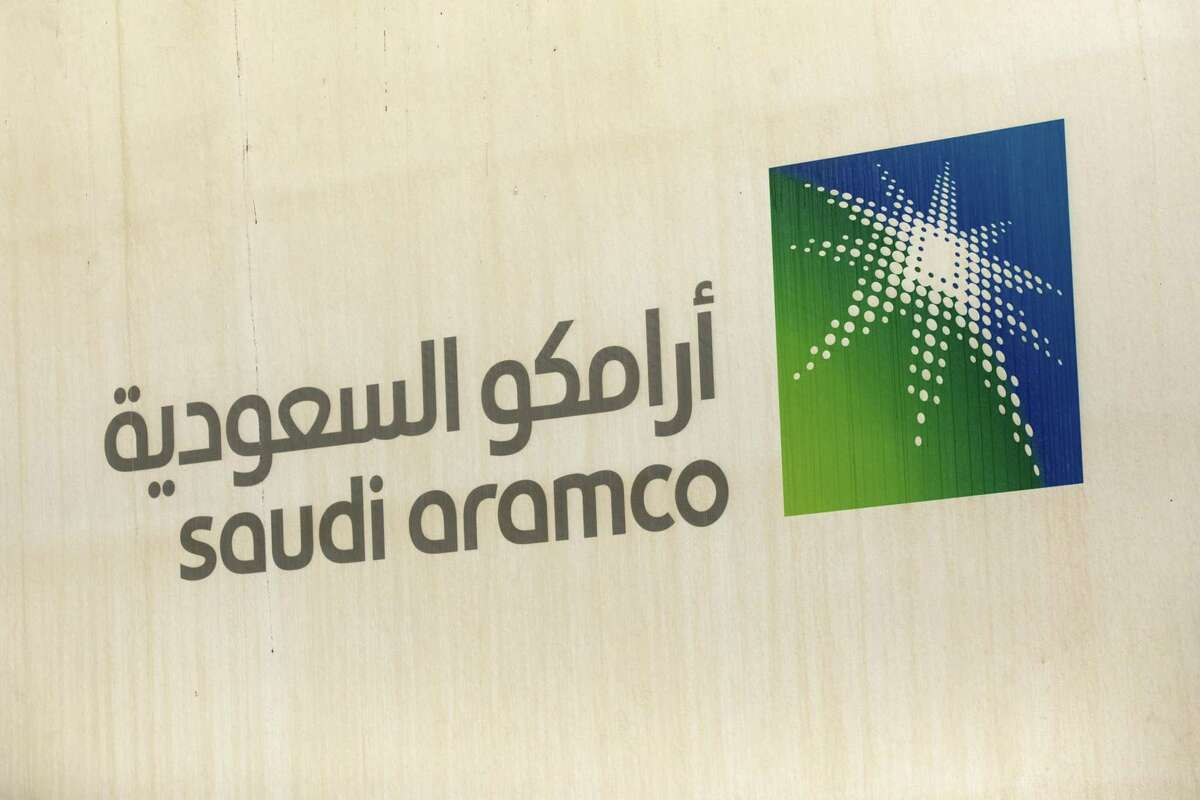 A logo is seen inside the Aramco compound in Dhahran, Saudi Arabia on Oct. 3, 2018.