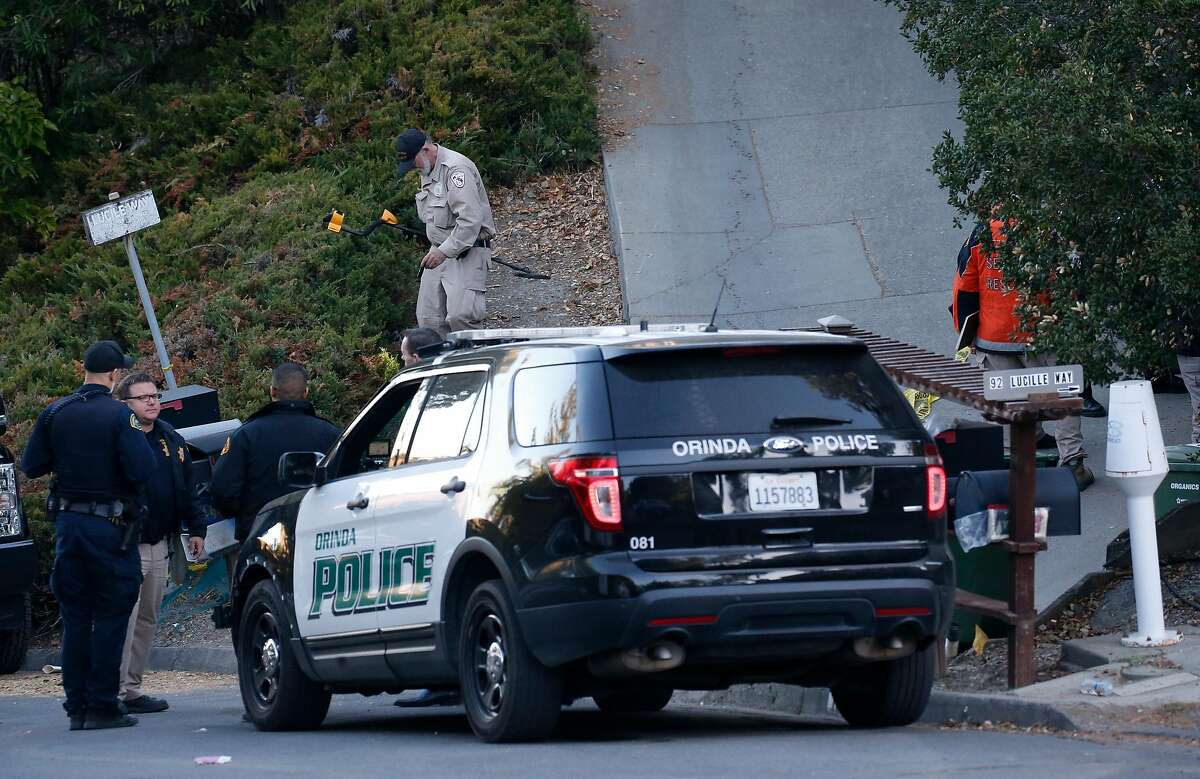 Police investigators continue to collect evidence from a home on Lucille Way in Orinda, Calif. on Friday, Nov. 1, 2019 after four people were killed and several left injured in a shooting during a Halloween party Thursday night.