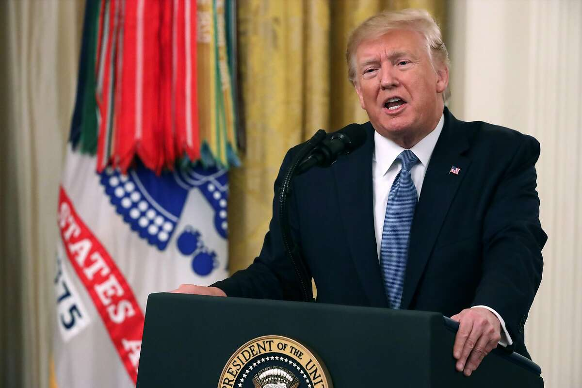 WASHINGTON, DC - OCTOBER 30: U.S. President Donald Trump delivers remarks during the Medal of Honor ceremony for Army Master Sgt. Matthew Williams in the East Room of the White House October 30, 2019 in Washington, DC. Serving with Special Forces Operational Detachment Alpha in Afghanistan's Shok Valley in 2008, Williams repeatedly risked his life to evacuate four wounded teammates and lead counterassaults after they were pinned down by enemy fire during a mission to capture or kill high-value targets. (Photo by Chip Somodevilla/Getty Images)