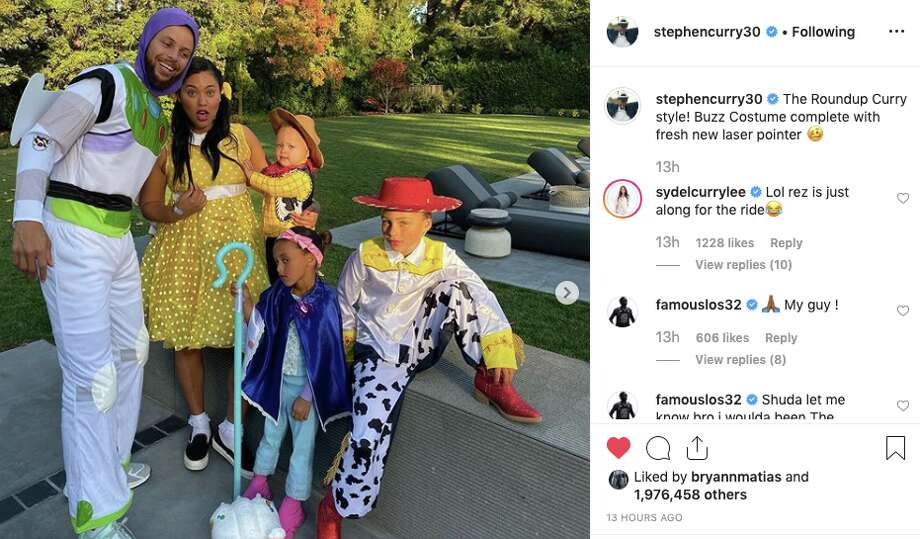 The Curry family dressed as characters from 'Toy Story' for Halloween this year. Photo: Stephen Curry/Instagram