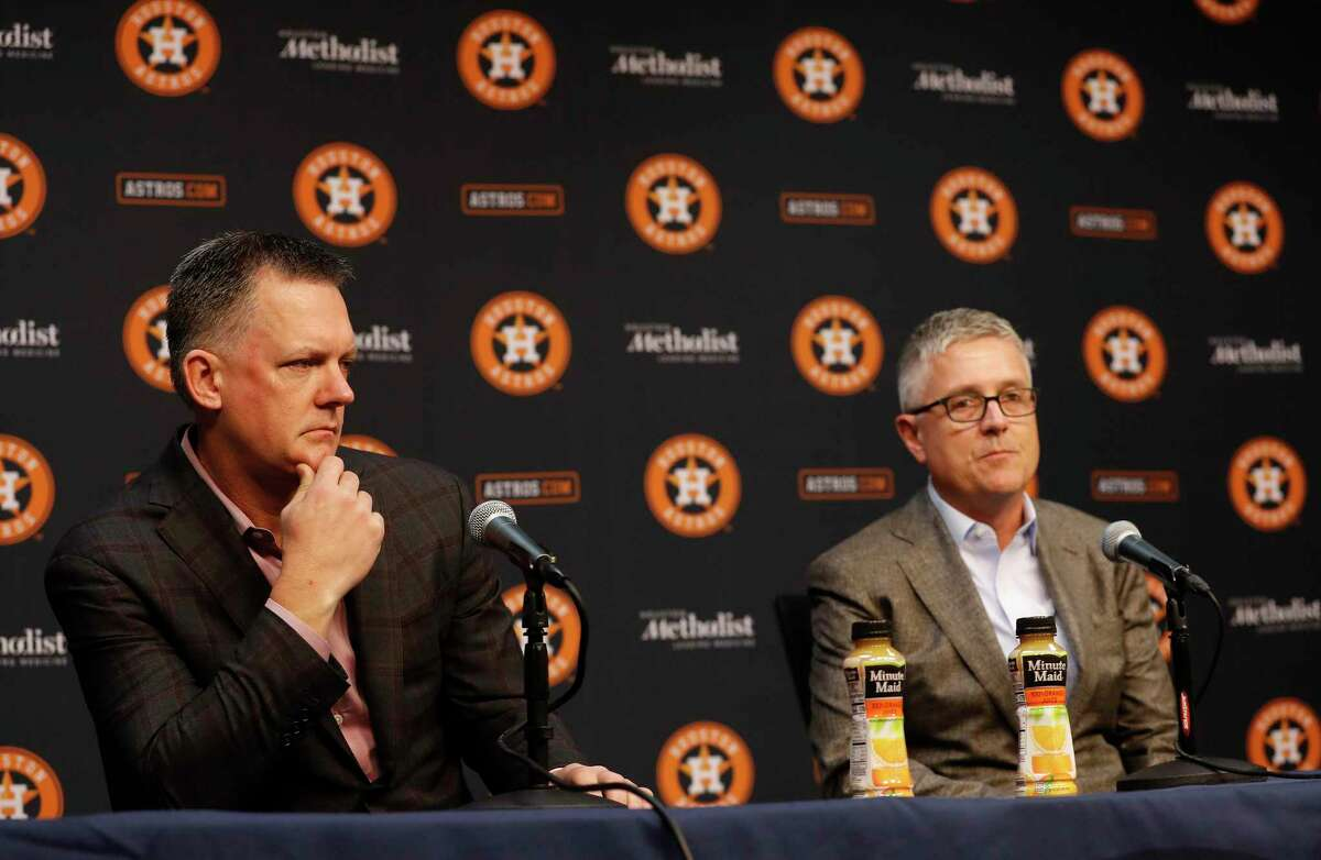 Houston Astros Jeff Luhnow, president of baseball operations speaks to the media during a press conference as manager AJ Hinch listened at Minute Maid Park, Friday, Nov. 1, 2019, in Houston.