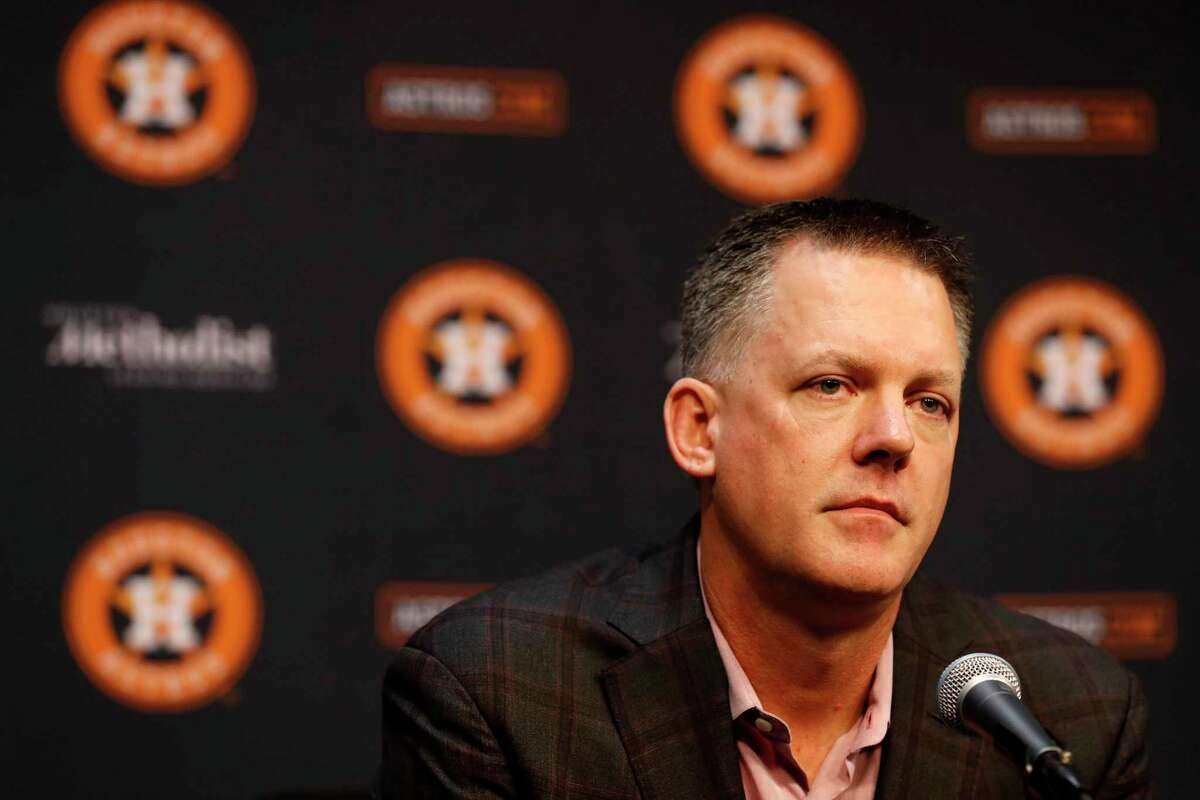 Houston Astros manager AJ Hinch speaks to the media during a press conference Jeff Luhnow, president of baseball operations at Minute Maid Park, Friday, Nov. 1, 2019, in Houston.