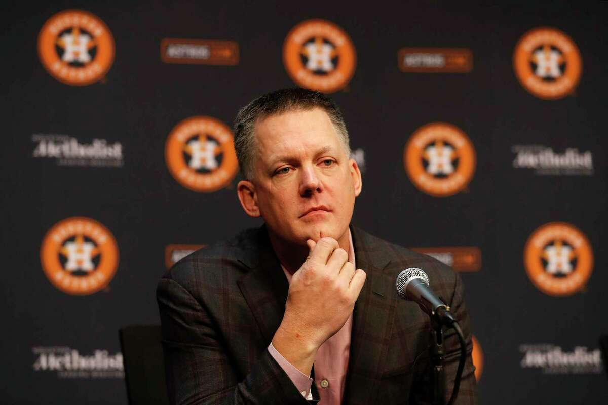 Astros manager A.J. Hinch is called the best in the business by his general manager, Jeff Luhnow.