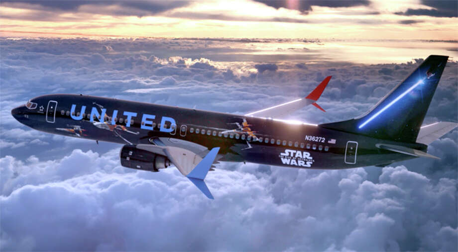 United is helping to promote the new Star Wars movie with a specially-themed 737-800. Photo: United