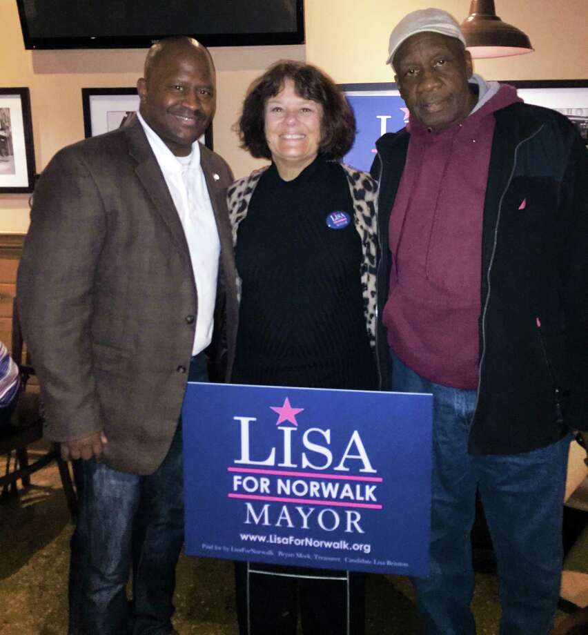 Two Democrats- state Rep. Travis Simms, D-140, and Common Council member Ernie Dumas- endorsed unaffiliated candidate Lisa Brinton for mayor. Photo: Contributed Photo