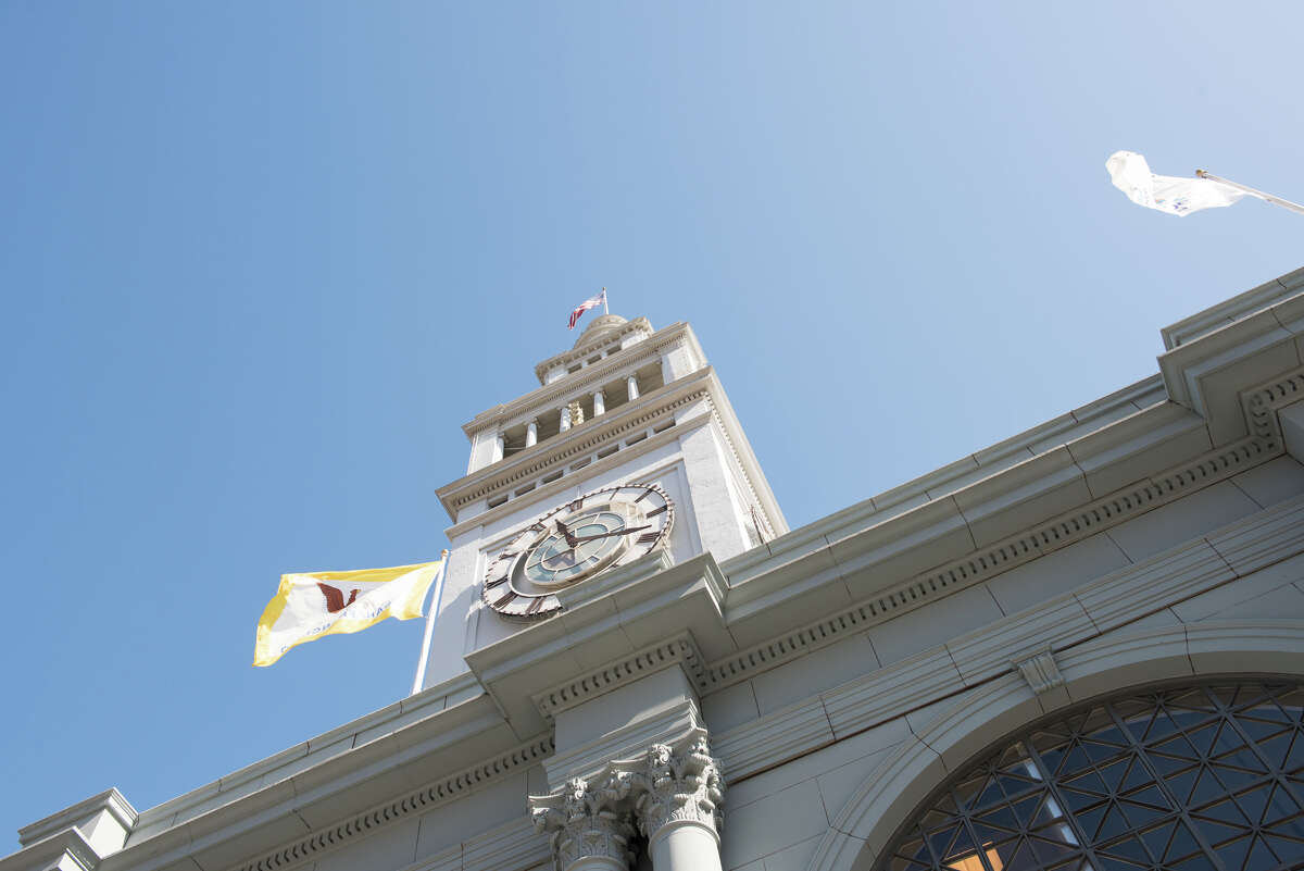 The exterior of the Ferry Building clock tower is a familiar sight in San Francisco.