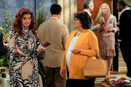 """Livia Treviño (right) of San Antonio plays no-nonsense neighbor Mrs.Timmer on """"Will & Grace."""" Her contentious on-screen relationship with the flighty Grace (Debra Messing) began with this funny encounter on the revival's second season premiere, """"The West Side Curmudgeon."""""""