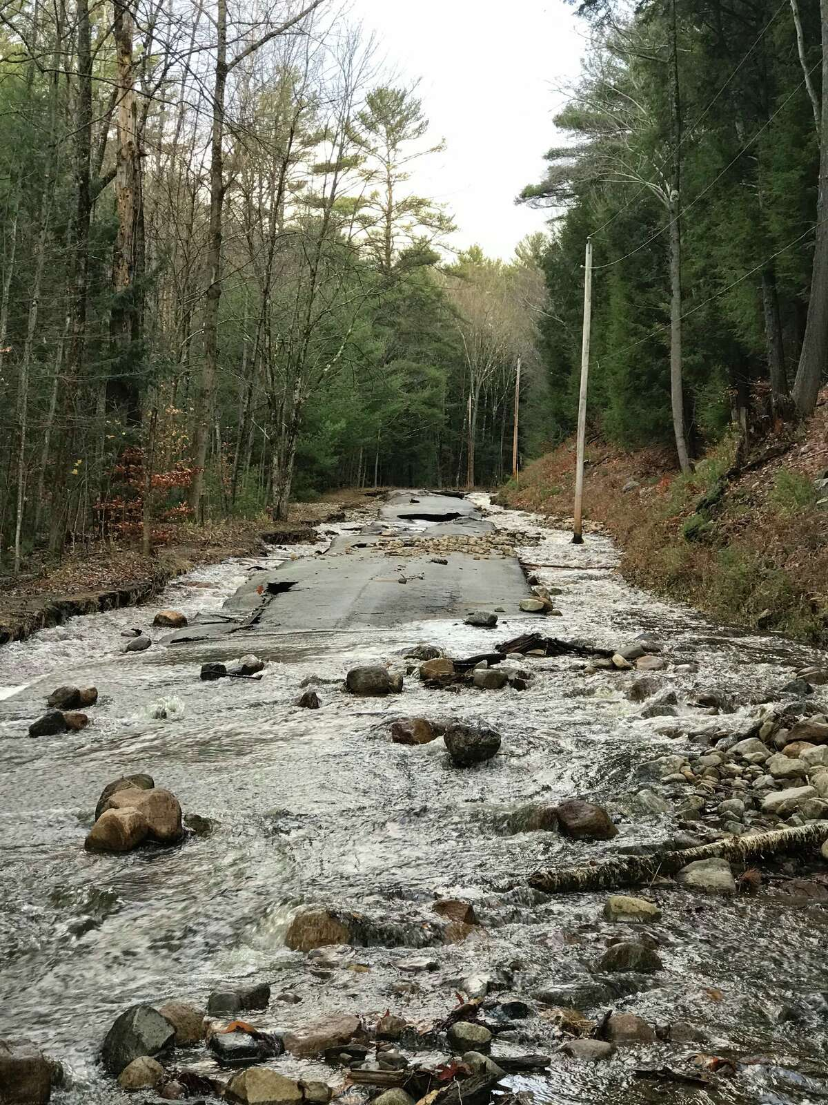 Sand Creek Road is washed out in the town of Day, according to the Saratoga County Office of Emergency Management.