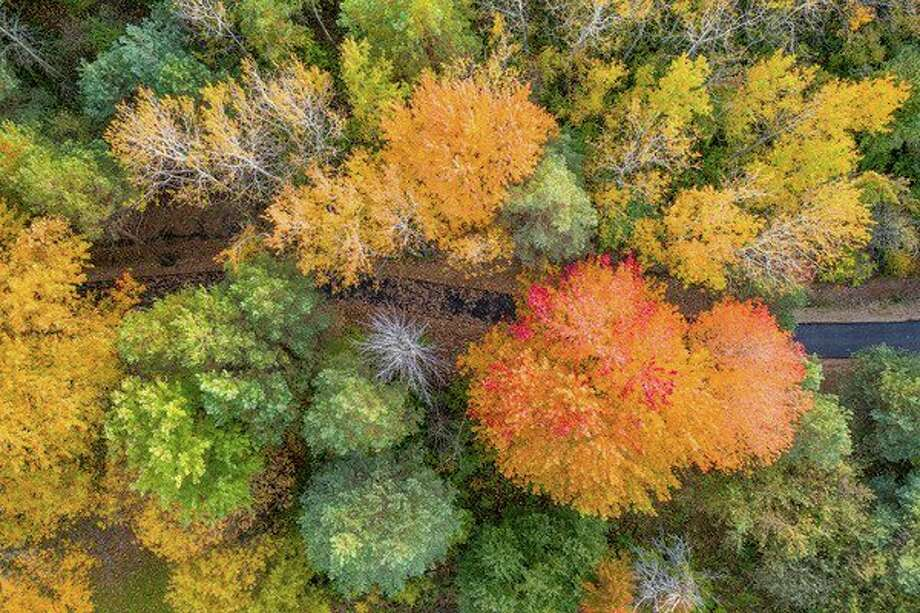 A drone shows an overhead view of a the new walking trail in Bad Axe as the fall leaves begin to fill it with color. (Tyler Leipprandt/Michigan Sky Media)