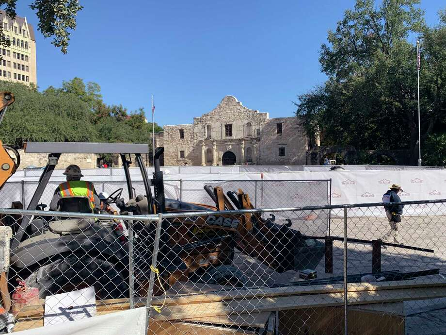 Construction equipment rests in Alamo Plaza earlier this year. A reader is concerned changes to the plaza will rob San Antonio of its charm and historical identity. Photo: Billy Calzada /Staff Photographer / San Antonio Express-News