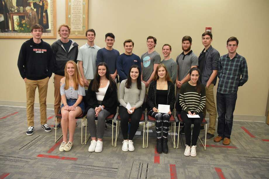 New Canaan High School's 2019 National Merit Commended Scholars are: front row (seated): Jane Charlton, Heather Doherty, Ryan Benevento, Helen Culpepper, Hannah Suthons; second row (standing): Hollis Kammerer, Jonathan Hall, Griffen Dayton, Thomas Marshall, Steven Hoge, Bartholmew Codd, Brian Campe, Andrew Morse, Alessio Pantaleo and Daniel Tierney. Photo: Contributed photo Photo: Contributed Photo