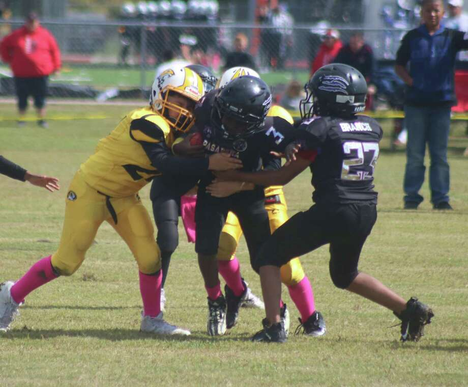 Members of the Deer Park Sophomore Tigers slow down a Pasadena Bears ballcarrier during last Saturday's playoff action at Goose Creek Memorial HS. Photo: Robert Avery