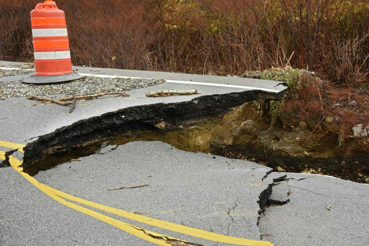 Part of Lake Desolation Road near Kilmer Rd is closed due to part of the road being washed out on Friday, Nov. 1, 2019 in Middle Grove, N.Y. (Lori Van Buren/Times Union)
