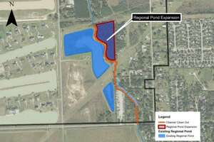 Costello Engineering's map shows expansion of the regional pond in the City of Katy. The map is part of an Oct. 23, 2017 document prepared for the city as part of the Flood Protection Study. The upstream regional detention north of Pitts Road is identified as one of the long-term improvement options.