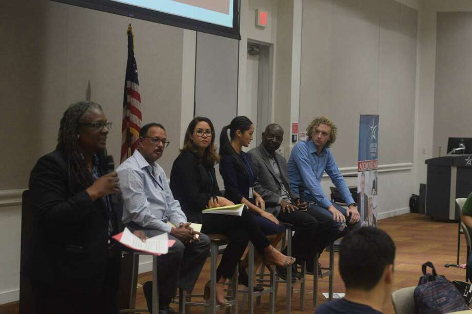 (left to right) Ellen Junious hosted the The Good, The Bad & The Ugly of our U.S. Economy panel at Lone Star College-CyFair on Oct. 29 including panelists Amlan Datta, Ghazal Bayanpour-Tehrani, Christine Nguyen, Wole Peters, Robert-Jan Miedema. Photo: Chevall Pryce