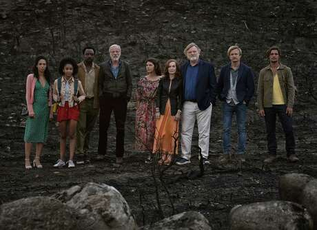 "From left: Vinette Robinson, Sennia Nanua, Ariyon Bakare, Pascal Greggory, Marisa Tomei, Isabelle Huppert; Brendan Gleeson, Jérémie Renier and Carloto Cotta in ""Frankie."" MUST CREDIT: Handout photo by Guy Ferrandis/SBS Productions/Sony Pictures Classics"