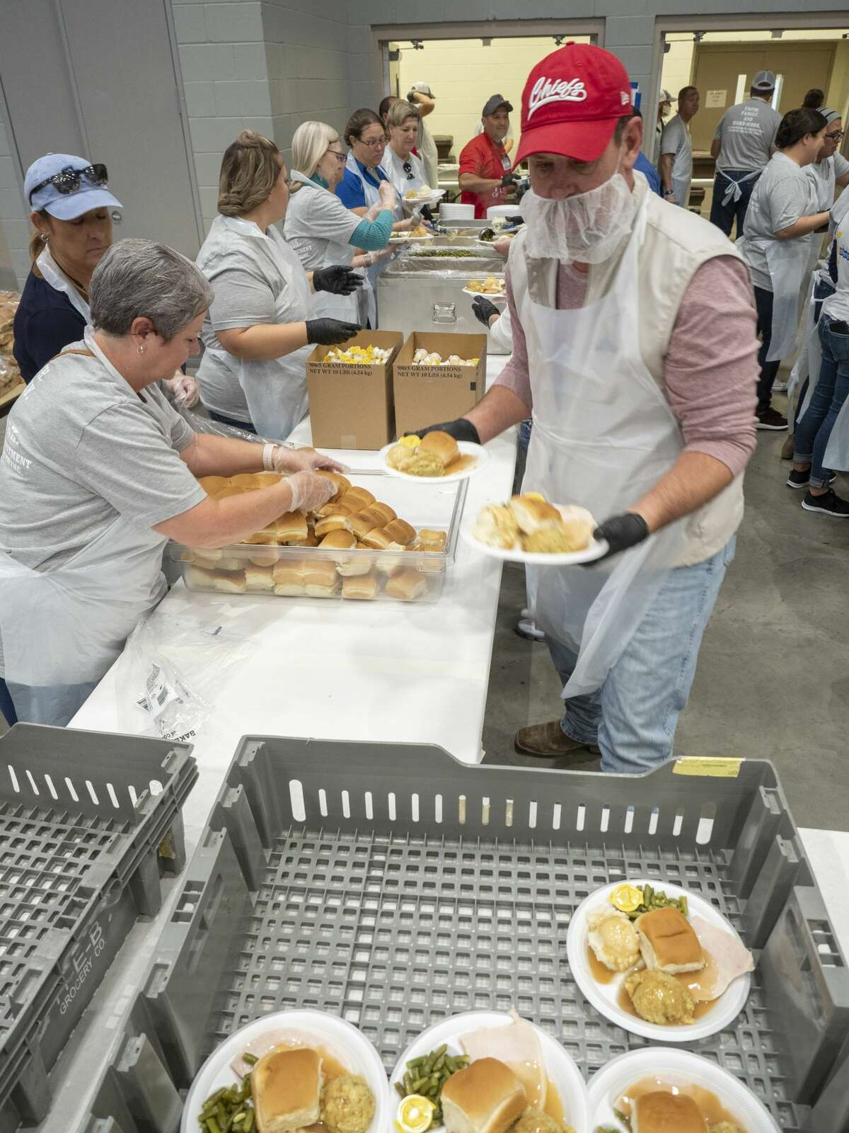 HEB staff and hundreds of volunteers serve thousands of plates 11/01/19 as HEB hosts the annual Feast of Sharing Thanksgiving dinner for Permian Basin residents. Tim Fischer/Reporter-Telegram