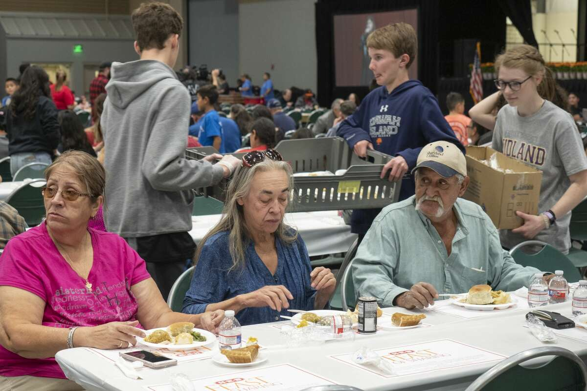 The Horseshoe Pavilion is filled with hungry people 11/01/19 as HEB hosts the annual Feast of Sharing Thanksgiving dinner for Permian Basin residents. Tim Fischer/Reporter-Telegram
