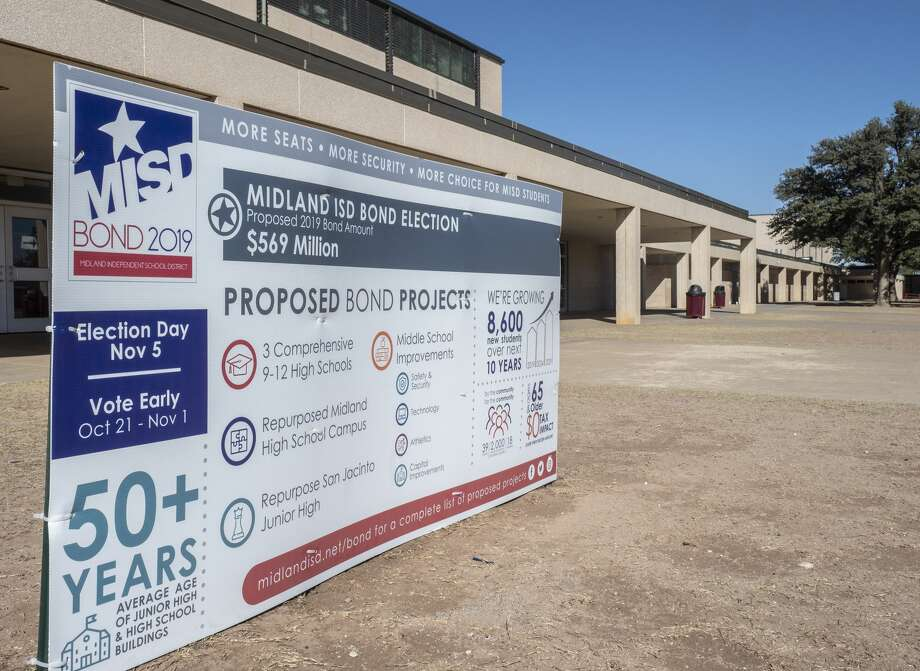 MISD Bond 2019 sign outside Lee High School and other area schools.  11/01/19 Tim Fischer/Reporter-Telegram Photo: Tim Fischer/Midland Reporter-Telegram