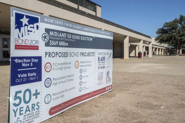 MISD Bond 2019 sign outside Lee High School and other area schools. 11/01/19 Tim Fischer/Reporter-Telegram