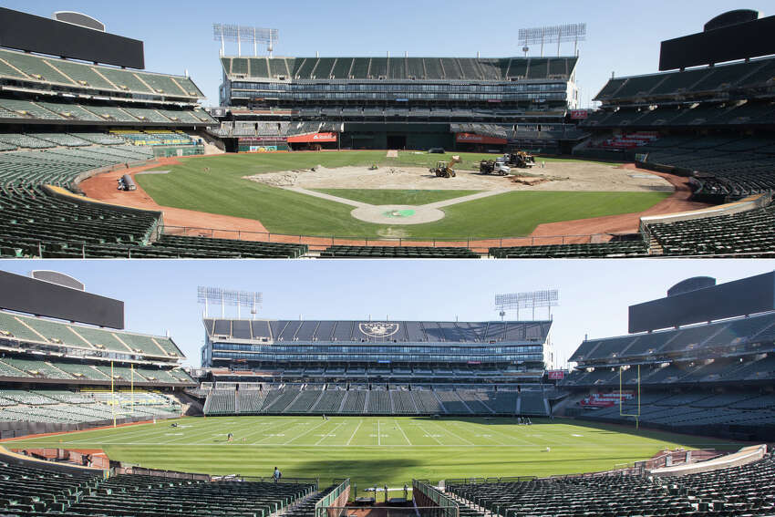 Groundskeepers for the Oakland A's converted the field of the Oakland Coliseum from a baseball to a football field.