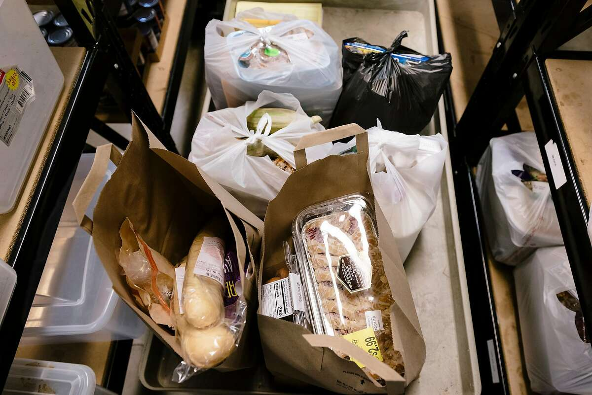 Bags of groceries that will be distributed to food bank clients at The Well Community Outreach Center in Livermore, California, on Friday, November 1st, 2019.