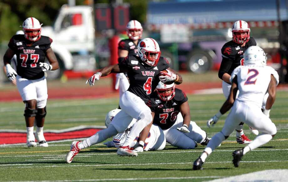 UIW running back Kevin Brown looks for running room against NW State on Saturday, October 26, 2019 at University of Incarnate Word. Photo: Ronald Cortes/Contributor / 2019 Ronald Cortes