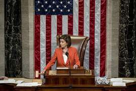 House Speaker Nancy Pelosi of Calif. gavels as the House votes 232-196 to pass resolution on impeachment procedure to move forward into the next phase of the impeachment inquiry into President Trump in the House Chamber on Capitol Hill in Washington, Thursday, Oct. 31, 2019. The resolution would authorize the next stage of impeachment inquiry into President Donald Trump, including establishing the format for open hearings, giving the House Committee on the Judiciary the final recommendation on impeachment, and allowing President Trump and his lawyers to attend events and question witnesses.  (AP Photo/Andrew Harnik)