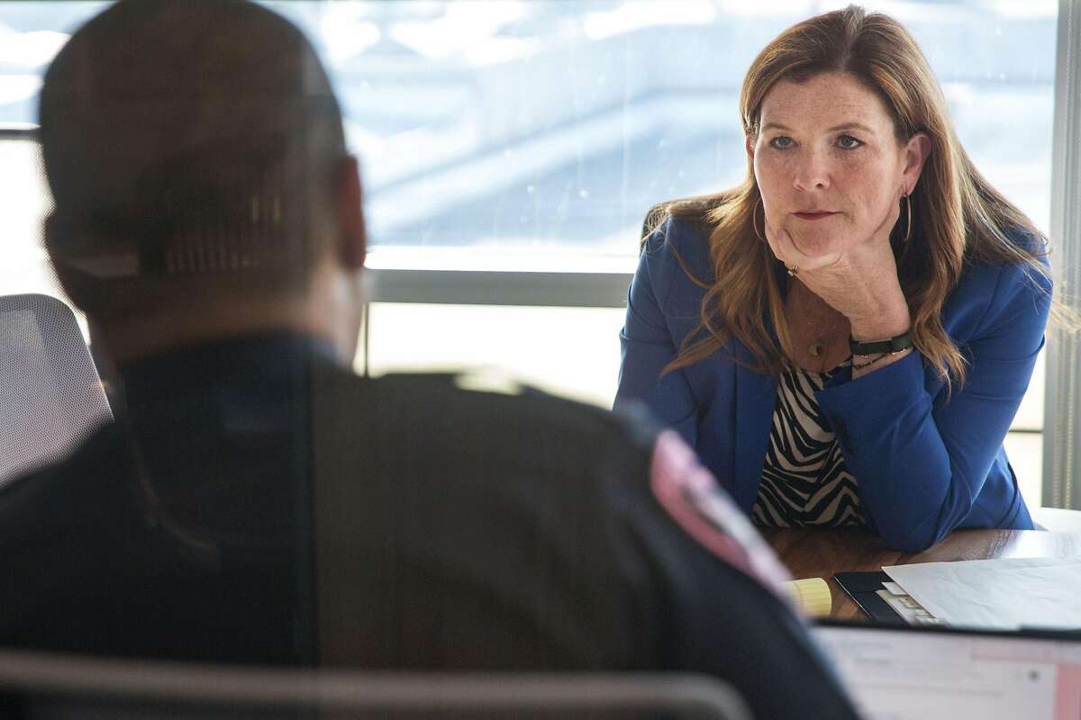 Suzy Loftus, interim District Attorney of San Francisco, during a meeting with William Scott, Chief of Police, at the District Attorney's office on Potrero Hill. Wednesday, October 30, 2019. San Francisco, Calif.
