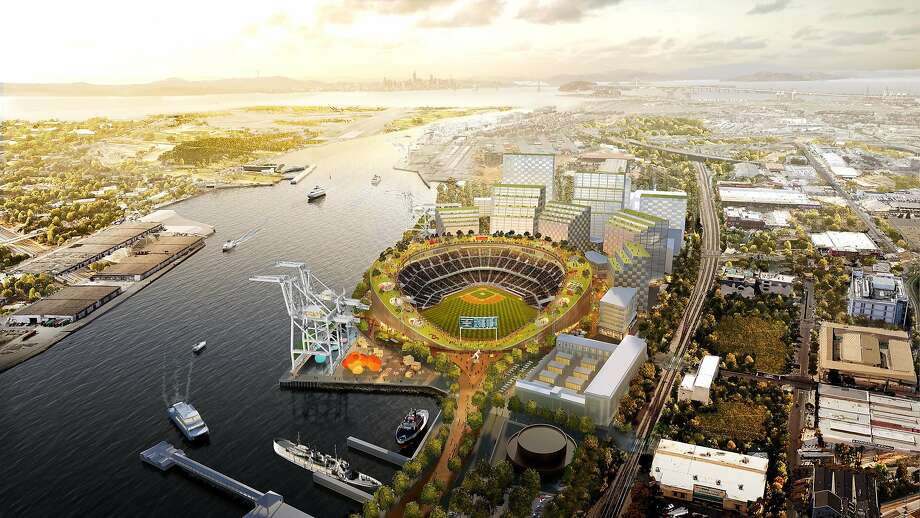 Illustration of proposed new Oakland A's ballpark at Howard Terminal featuring a rooftop park. Photo: Courtesy Oakland A's