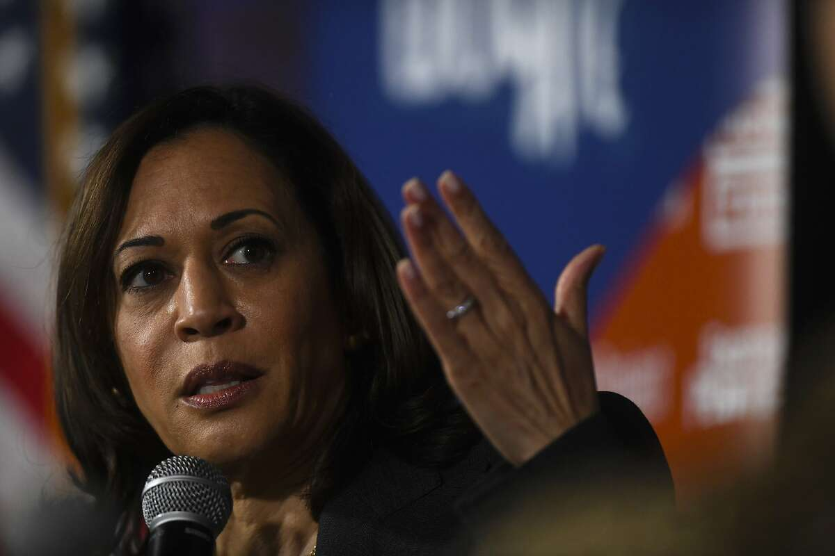 PHILADELPHIA, PA - OCTOBER 28: Democratic presidential candidate, U.S. Sen. Kamala Harris (D-CA) speaks during a town hall at the Eastern State Penitentiary on October 28, 2019 in Philadelphia, Pennsylvania. Formerly incarcerated individuals, their families, and others involved with the criminal justice system hosted the town hall with three 2020 Democratic presidential candidates. (Photo by Mark Makela/Getty Images)
