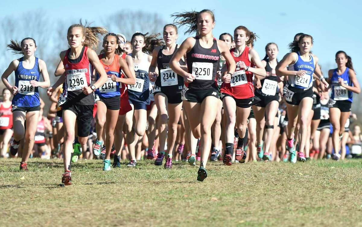 Manchester, Connecticut -Wednesday, November 1, 2019: The CIAC Girls Cross Country Open Championship Friday at Wickham Park in Manchester, left to right: Jacqueline Izzo of Southington H.S., Kate Wiser of Pomperaug H.S., Daniella Grullon Pena of Danbury, Ailene Doherty of Immaculate H.S., Emily Alexandru of Trumbull H.S.; Mari Noble of Greenwich H.S., Kate Hedlund of Manchester H.S., Sophie Curcio of New Canaan H.S., Liv Distefano of East Hampton H.S., and Caitlyn Wiley of Old Saybrook H.S.