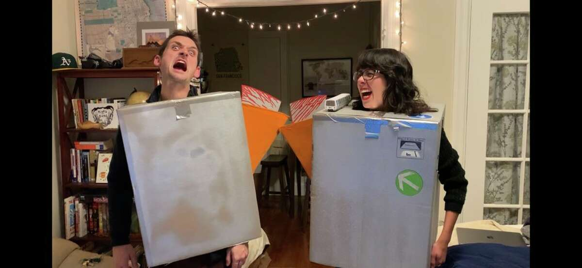 Kelly Groth, right, and friend Sam Bertken display their Halloween costumes for this year: a spooky take on the