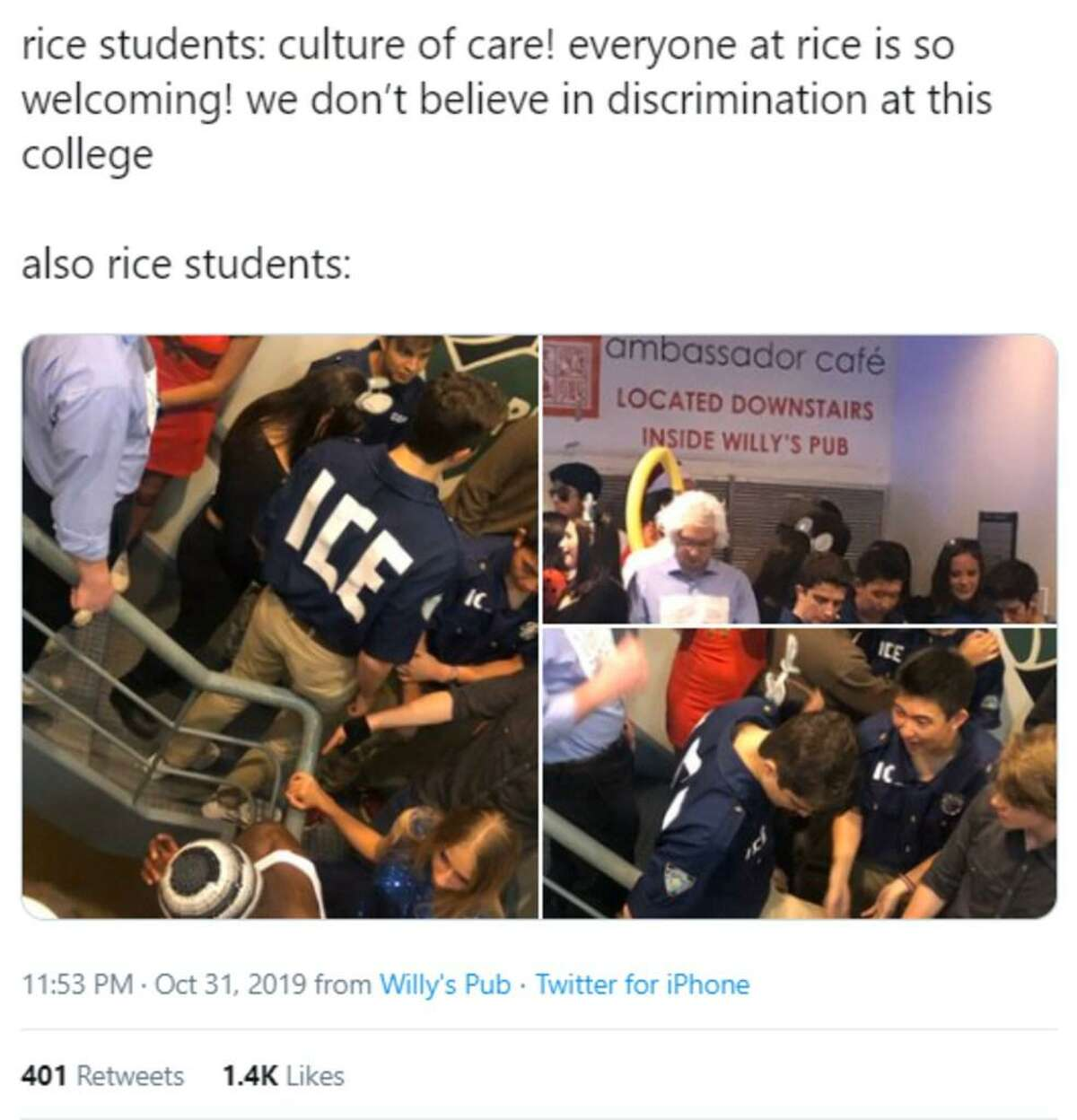 Three Rice University students who dressed up as U.S. Immigration and Customs Enforcement officers at a Halloween event on campus have sparked outrage at the university after their photos surfaced on social media.