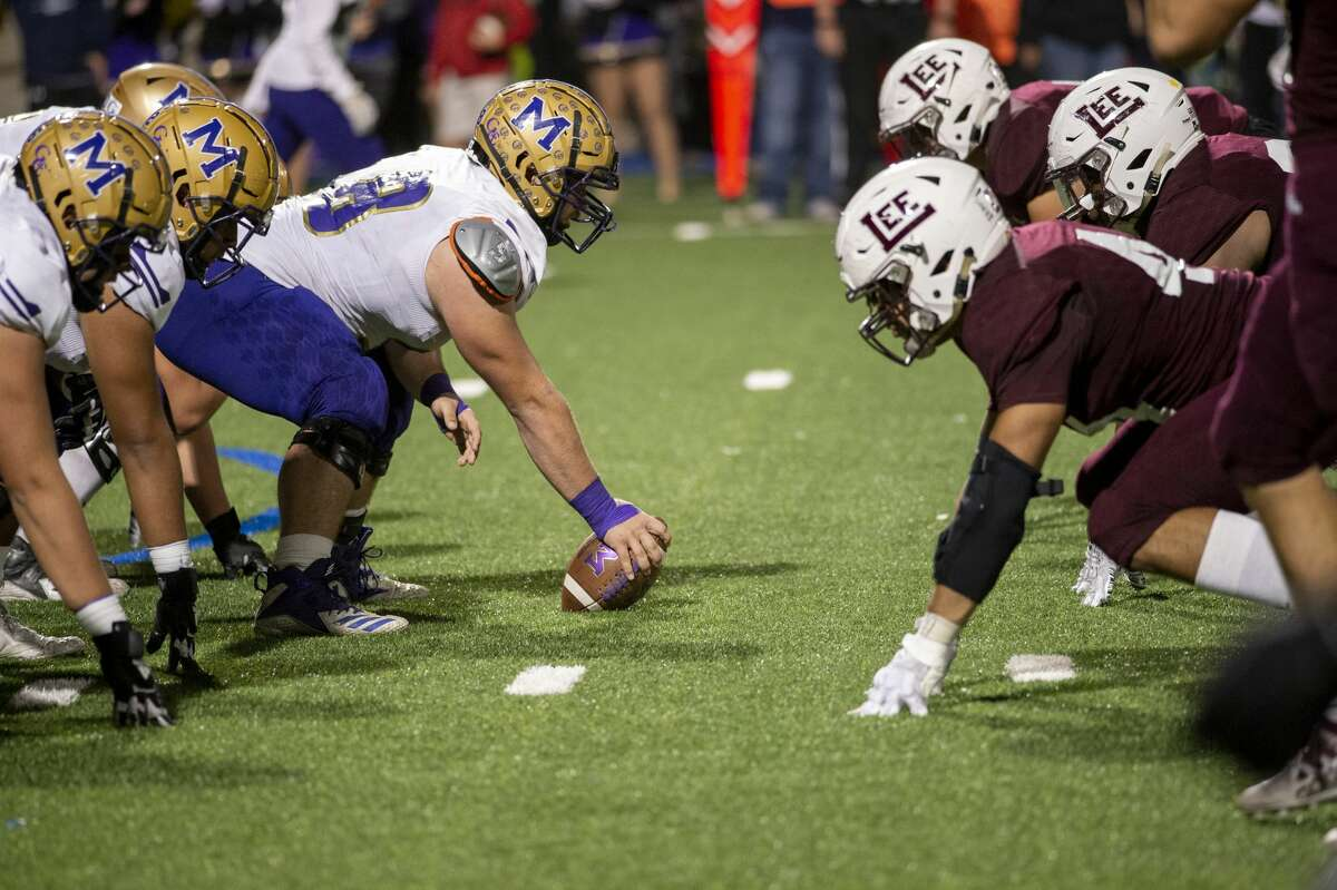 Midland High snaps the ball Friday, Nov. 1, 2019 at Grande Communications Field.