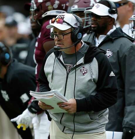 COLLEGE STATION, TEXAS - OCTOBER 26: Head coach Jimbo Fisher of the Texas A&M Aggies looks on from the sideline against the Mississippi State Bulldogs at Kyle Field on October 26, 2019 in College Station, Texas. (Photo by Bob Levey/Getty Images)
