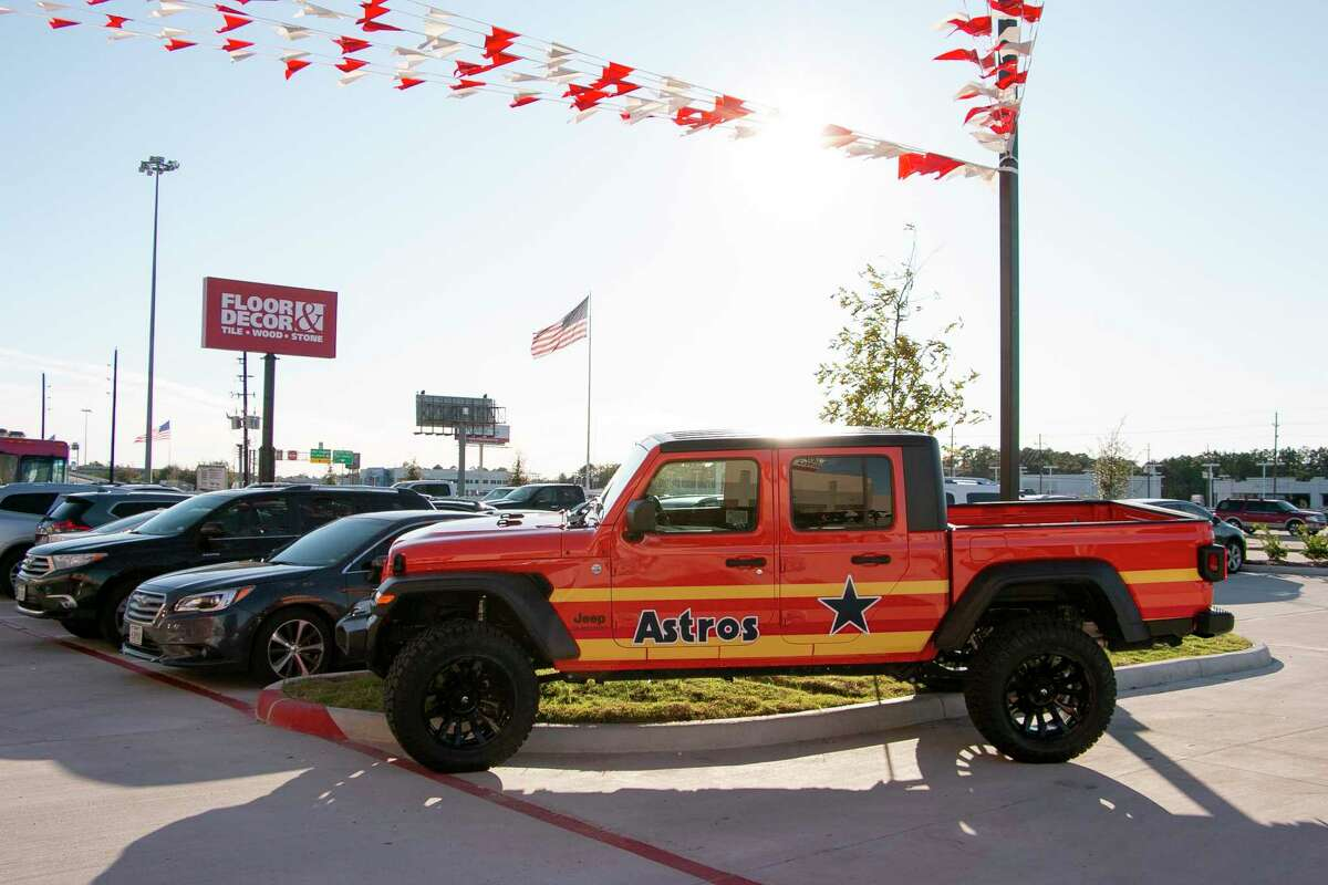 The Dodge dealership brought their new Astros-themed Jeep Gladiator the day after the world series to the opening of Floor and Decor in Humble.
