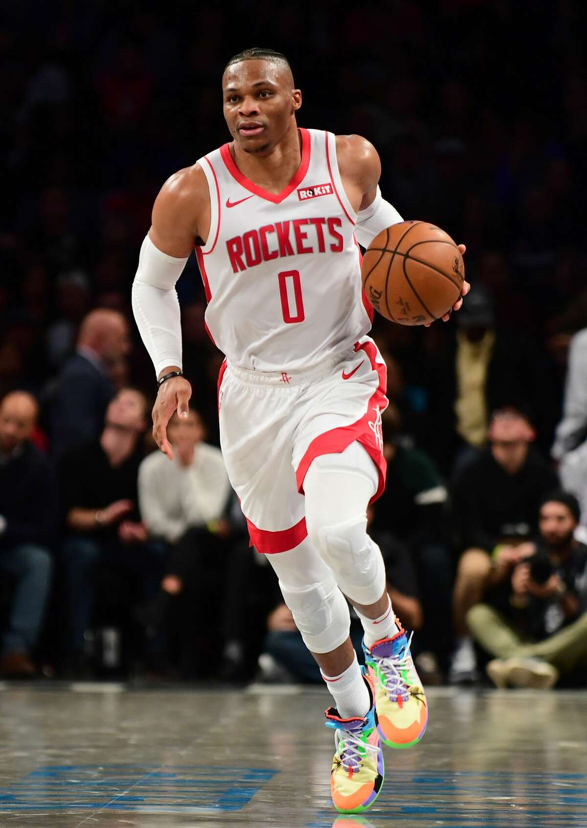 NEW YORK, NEW YORK - NOVEMBER 01: Russell Westbrook #0 of the Houston Rockets dribbles the ball down court during the first half of their game against the Brooklyn Nets at Barclays Center on November 01, 2019 in the Brooklyn borough New York City. NOTE TO USER: User expressly acknowledges and agrees that, by downloading and or using this Photograph, user is consenting to the terms and conditions of the Getty Images License Agreement. (Photo by Emilee Chinn/Getty Images)
