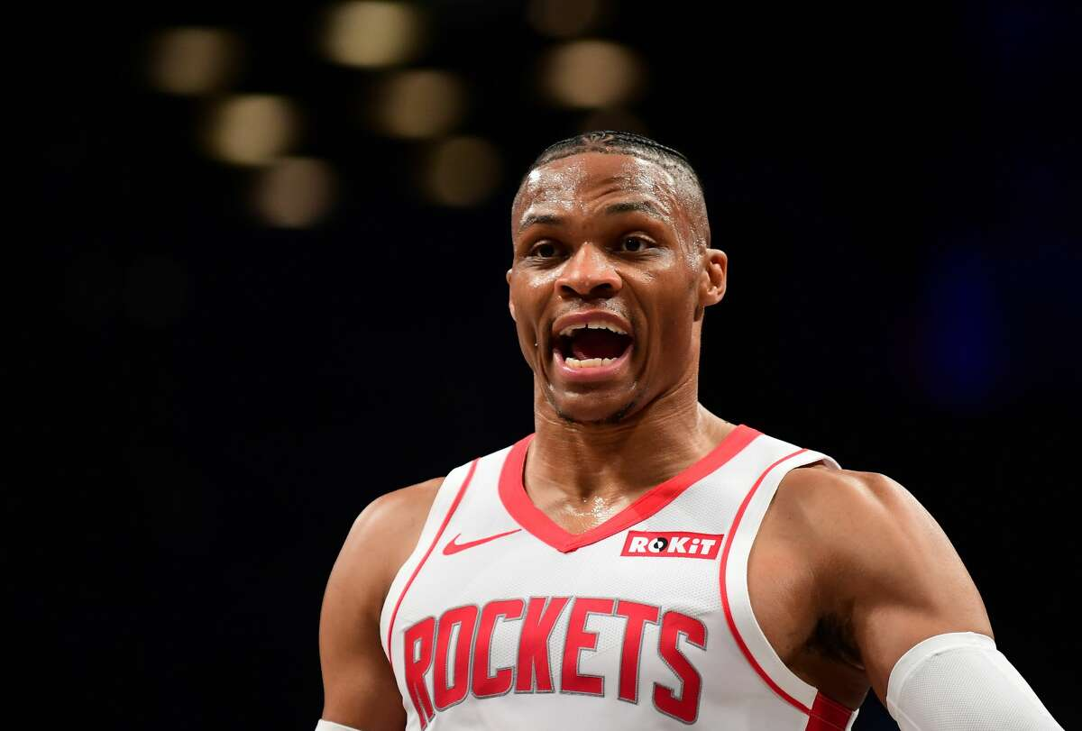 NEW YORK, NEW YORK - NOVEMBER 01: Russell Westbrook #0 of the Houston Rockets reacts during the first half of their game against the Brooklyn Nets at Barclays Center on November 01, 2019 in the Brooklyn borough New York City. NOTE TO USER: User expressly acknowledges and agrees that, by downloading and or using this Photograph, user is consenting to the terms and conditions of the Getty Images License Agreement. (Photo by Emilee Chinn/Getty Images)