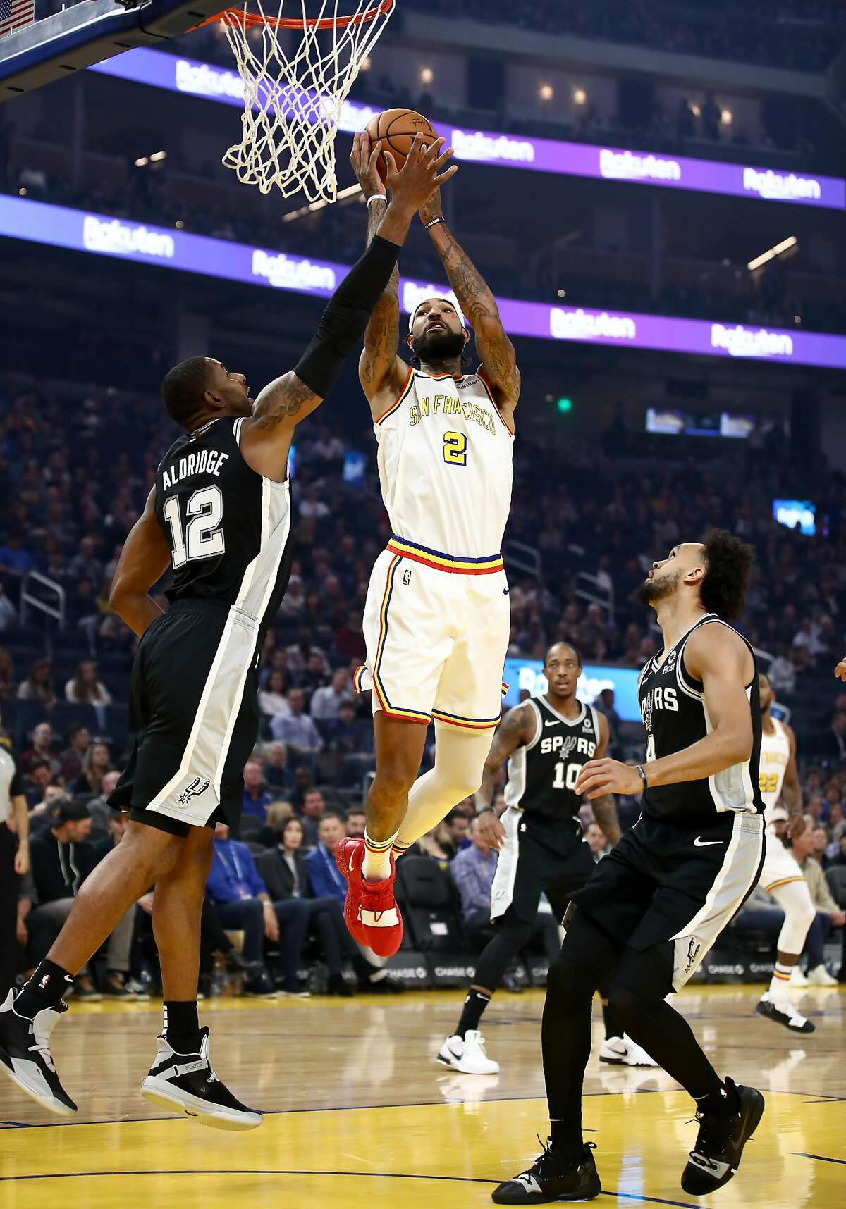 FILE - Willie Cauley-Stein #2 of the Golden State Warriors goes up for a shot against LaMarcus Aldridge #12 of the San Antonio Spurs at Chase Center on November 01, 2019 in San Francisco, California.