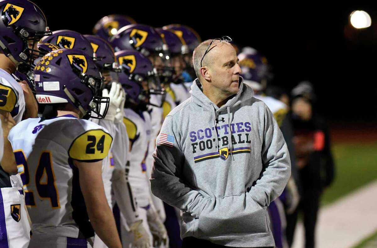 Ballston Spa head coach Greg O'Connor instructs his players against Troy during a Section II Class A semifinal high school football game in Troy, N.Y., Friday, Nov. 1, 2019. (Hans Pennink / Special to the Times Union)