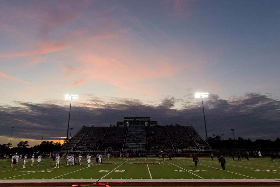 The sun sets behind Mustang Stadium before a District 8-5A high school football game between Magnolia and Magnolia West, Friday, Nov. 1, 2019, in Magnolia. Photo: Jason Fochtman, Houston Chronicle / Staff Photographer / Houston Chronicle