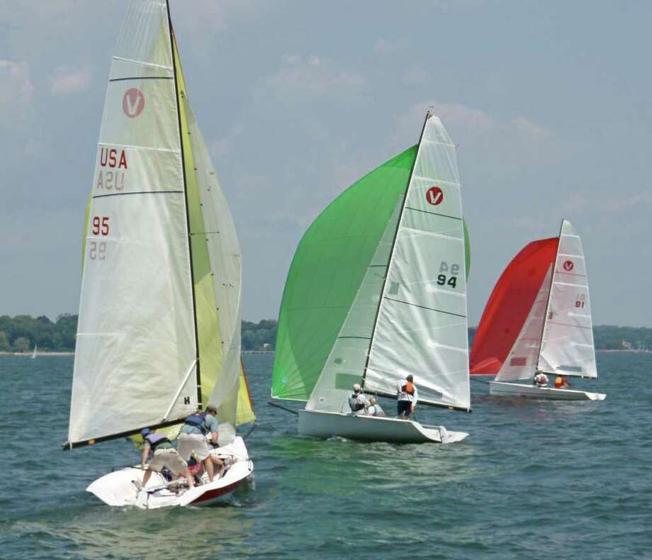 Three Vipers jibe downwind, shortly after rounding the windward mark during Sunday racing at the 2010 YRA of LIS One Design and PHRF Championships. Photo: Contributed Photo, John A. Glynn/For Greenwich Time / Greenwich Time Contributed