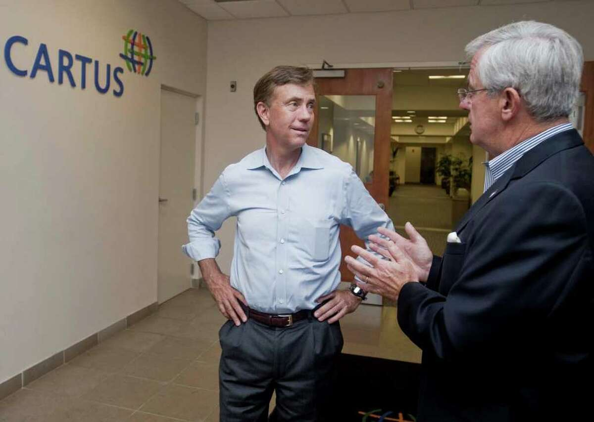 Ned Lamont chats with CARTUS CEO Kevin Kelleher at Danbury's second-largest employer. Lamont toured CARTUS on 40 Apple Ridge Road and met employees. Monday, Aug. 9, 2010
