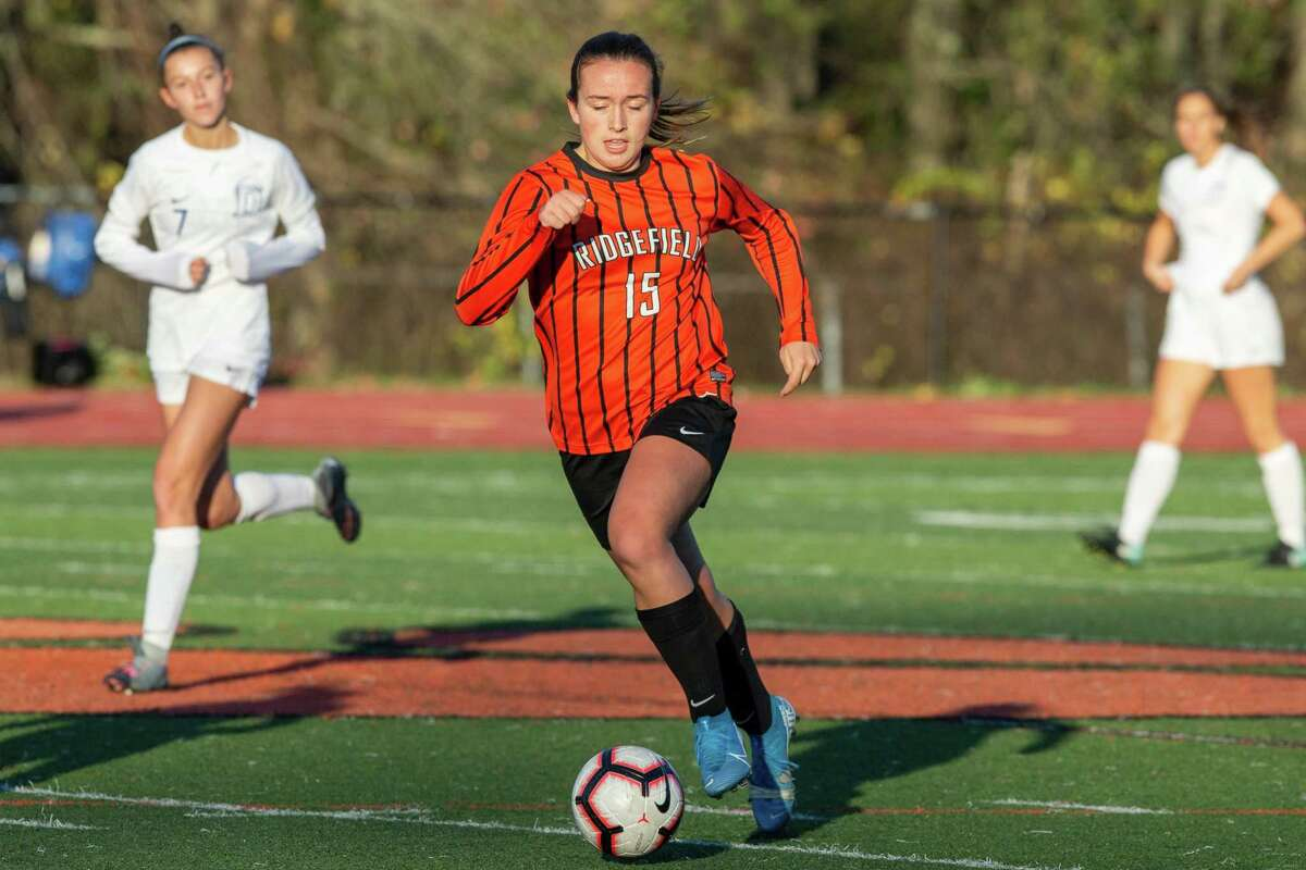 Faith Arnold and the Ridgefield girls soccer team are scheduled to open the season today against Wilton.