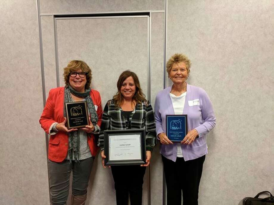 Hollie Hawkin, Lifetime Achievement Award winner is pictured with service award winner Terry LaFave (center) and Sherri Vainavicz - MI - AIRS Board president (left). (Photo provided)