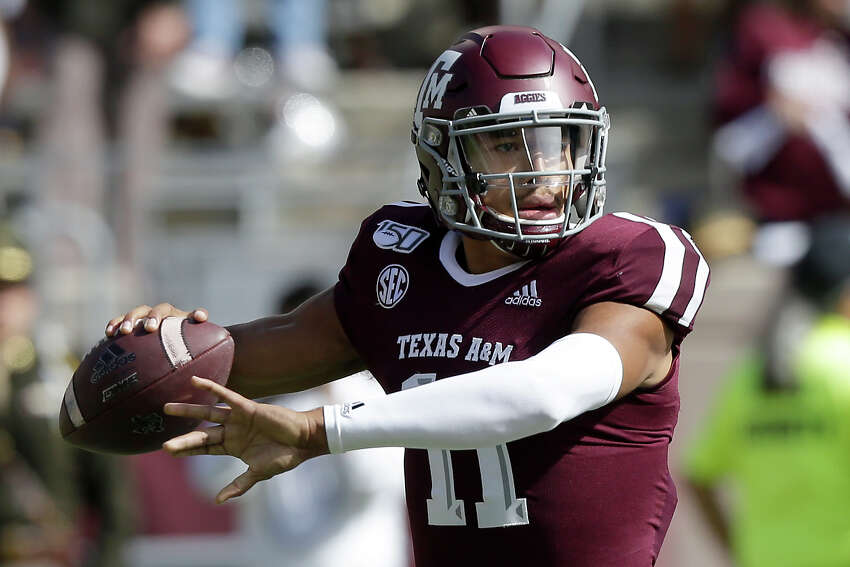 Texas A&M quarterback Kellen Mond (11) looks to pass down field against UTSA during the first half of an NCAA college football game, Saturday, Nov. 2, 2019, in College Station, Texas. (AP Photo/Sam Craft)