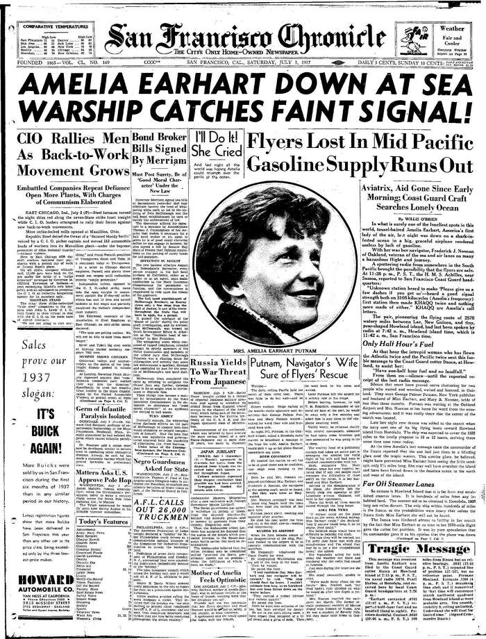 Historic Chronicle Front Page July 03, 1937 front page Amelia Earhart goes missing Chron365, Chroncover / ONLINE_YES